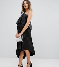 Платье миди на одно плечо с оборкой Queen Bee Maternity - Бежевый