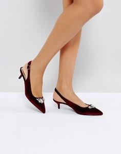 Туфли на каблуке с ремешком через пятку True Decadence - Красный