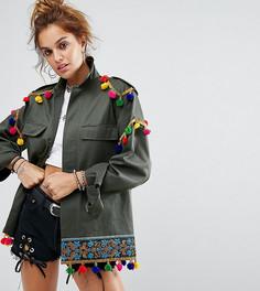 Декорированная фестивальная куртка в стиле милитари Reclaimed Vintage Revived - Зеленый