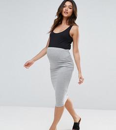 Трикотажная юбка-карандаш миди ASOS Maternity TALL - Серый