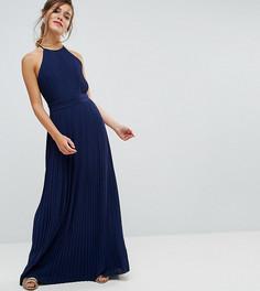 Плиссированное платье макси с высоким воротом TFNC Petite WEDDING - Темно-синий