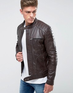 Стеганая кожаная байкерская куртка Barneys Originals - Коричневый