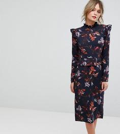 Платье с длинными рукавами, оборками и цветочным принтом Hope & Ivy - Мульти