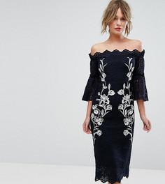 Кружевное платье-футляр с вышивкой Hope & Ivy - Темно-синий