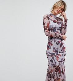 Сетчатое платье с цветочным принтом, длинными рукавами и баской по краю Hope & Ivy - Фиолетовый
