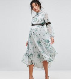 Платье миди с открытой спиной и кружевными вставками Hope & Ivy Maternity - Мульти