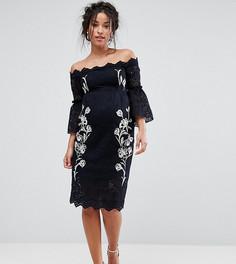 Кружевное платье-футляр с открытыми плечами и вышивкой Hope & Ivy Maternity - Темно-синий
