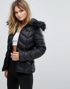 Дутая куртка с шевронным узором New Look - Черный