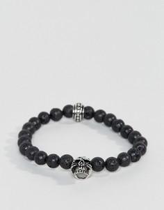 Черный браслет из бусин с черепом Seven London - Черный