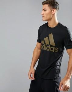 Черная футболка с логотипом adidas BR4056 - Черный