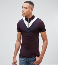 Длинная футболка-поло с двойной шевронной вставкой и воротником на молнии ASOS TALL - Фиолетовый