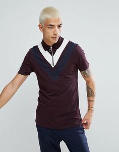 Обтягивающая футболка-поло с воротником на молнии и шевронными вставками ASOS - Красный