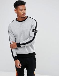 Серый свитшот с полосой на рукавах и нашивкой Hype - Серый