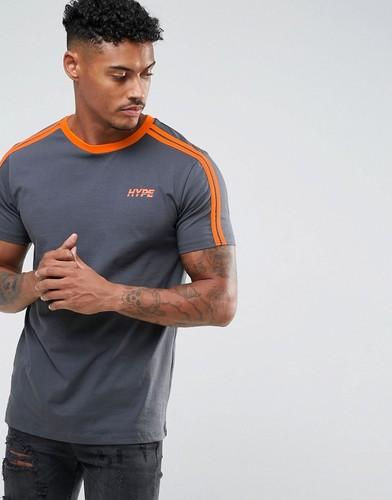 Серая футболка с полосками на рукавах Hype - Серый