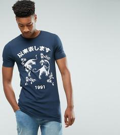 Удлиненная обтягивающая футболка с принтом ASOS TALL - Темно-синий
