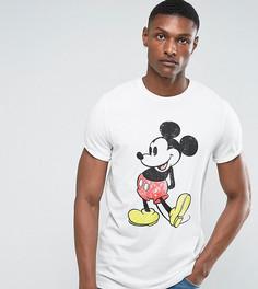 Свободная футболка с Микки Маусом и отворотами на рукавах ASOS TALL - Белый