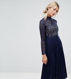 Кружевное плиссированное платье миди Little Mistress Premium - Темно-синий