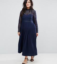 Кружевное платье макси с плиссировкой Little Mistress Plus - Темно-синий