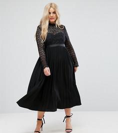 Платье миди с кружевом и плиссировкой Little Mistress Plus Premium - Черный