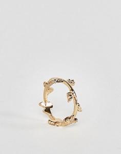 Кольцо на мизинец с листком ASOS - Золотой