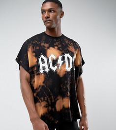 Oversize-футболка с выбеленным принтом ASOS TALL ACDC - Черный