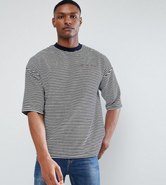 Велюровая оверсайз-футболка в полоску с вышивкой ASOS TALL - Темно-синий