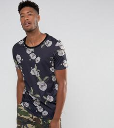 Длинная футболка с глубоким вырезом и цветочным принтом ASOS TALL - Черный