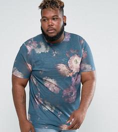 Длинная футболка с цветочным принтом ASOS PLUS - Розовый