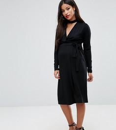 Платье с запахом и лентой вокруг шеи ASOS Maternity PETITE NURSING - Черный