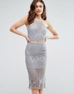 Серое кружевное платье миди на бретелях Girl In Mind Lexi - Серый