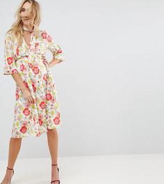 Приталенное платье с цветочным принтом и лентой на шее ASOS MATERNITY - Мульти