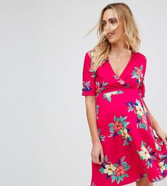 Розовое короткое приталенное платье с запахом и цветочным принтом ASOS Maternity NURSING - Мульти