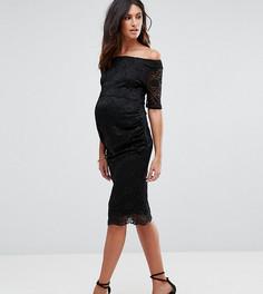 Кружевное платье с укороченными рукавами ASOS Maternity PETITE - Черный