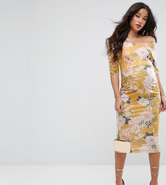 Желтое платье в цветочек с широким вырезом и укороченными рукавами ASOS Maternity TALL - Мульти