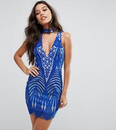 Кружевное платье мини с чокером Love Triangle - Синий