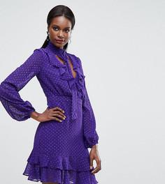 Платье мини с глубоким вырезом и оборками Dark Pink - Фиолетовый