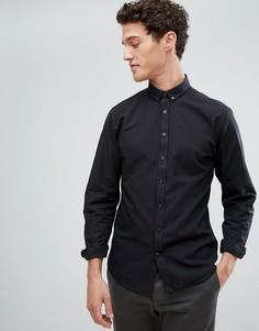 Черная оксфордская рубашка с воротником на пуговицах Lindbergh - Черный