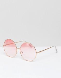 Круглые солнцезащитные очки с розовыми стеклами Skinnydip - Розовый