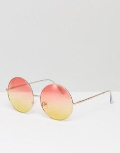 Круглые солнцезащитные очки с розово-желтыми стеклами Skinnydip - Мульти