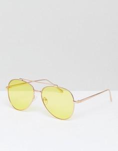 Солнцезащитные очки-авиаторы с желтыми стеклами Skinnydip - Желтый