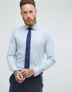 Синяя приталенная фактурная рубашка с двойными манжетами ASOS - Синий