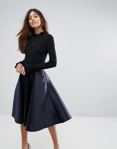 Платье с расклешенными манжетами и вязаным верхом Ted Baker Zadi - Темно-синий