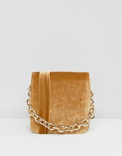 Бархатная сумка через плечо горчичного цвета Glamorous - Желтый
