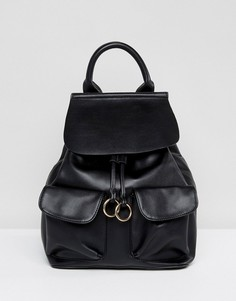Рюкзак с клапаном и кольцами Glamorous - Черный