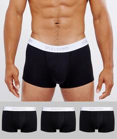 Набор из 3 пар черных боксеров-брифов Lyle & Scott - Черный