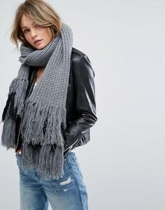 Серый вязаный шарф с бахромой Glamorous - Серый
