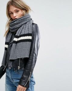 Серый вязаный шарф с узором в косичку и полосками Glamorous - Серый