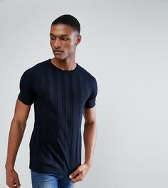 Темно-синяя вязаная футболка в полоску ASOS TALL - Темно-синий