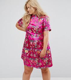 Парчовое платье с высоким воротом и вышивкой Alice & You - Розовый