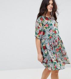 Свободное платье с цветочным принтом ASOS CURVE - Мульти